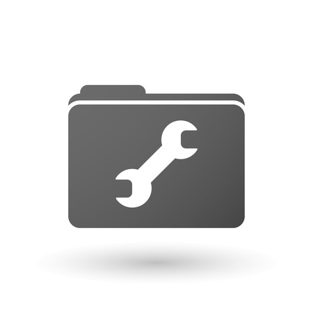 monkey wrench: Illustration of an isolated folder with a wrench