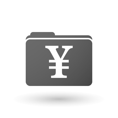 yen sign: Illustration of an isolated folder with a yen sign Illustration