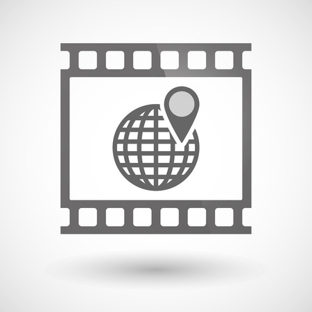 photographic film: Illustration of a photographic film icon with a world globe Illustration