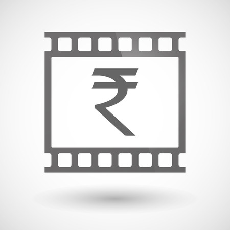 indian professional: Illustration of a photographic film icon with a rupee sign