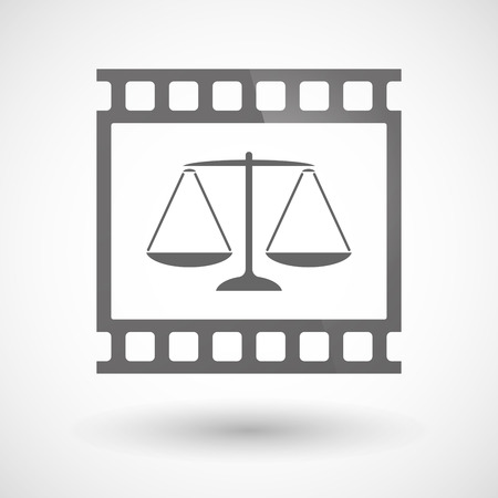 tribunal: Illustration of a photographic film icon with a justice weight scale sign