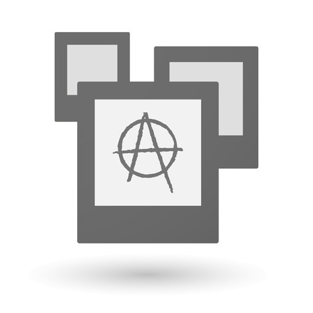 anarchist: Illustration of an isolated group of photos with an anarchy sign