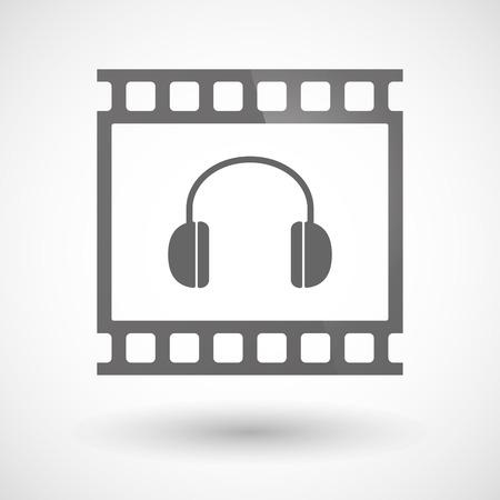 earphones: Illustration of a photographic film icon with a earphones Illustration