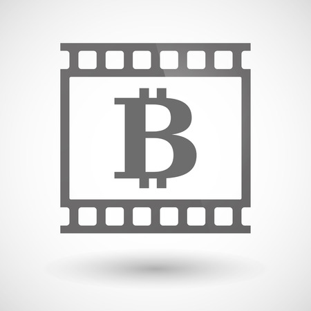 photographic film: Illustration of a photographic film icon with a bit coin sign Illustration