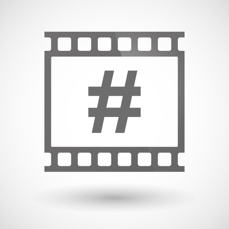 hash: Illustration of a photographic film icon with a hash tag Illustration