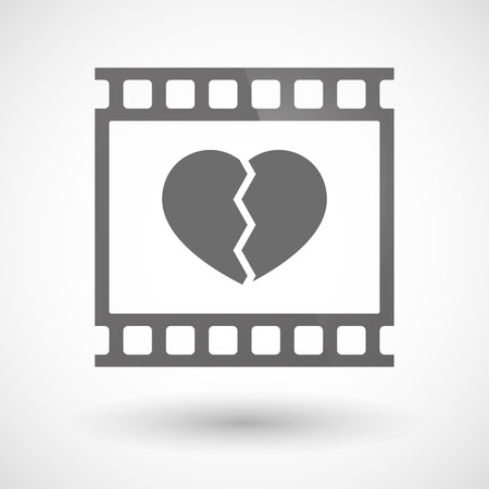 photographic film: Illustration of a photographic film icon with a broken heart Illustration