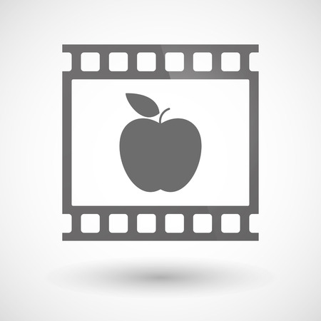 Illustration of a photographic film icon with an apple