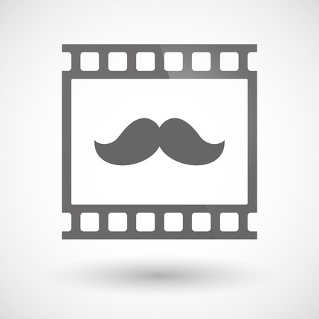 photographic film: Illustration of a photographic film icon with a moustache Illustration