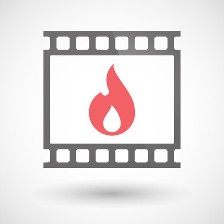 photographic film: Illustration of a photographic film icon with a flame