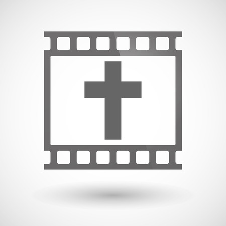 photographic film: Illustration of a photographic film icon with a christian cross