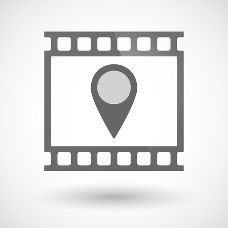 tape marker: Illustration of a photographic film icon with a map mark Illustration