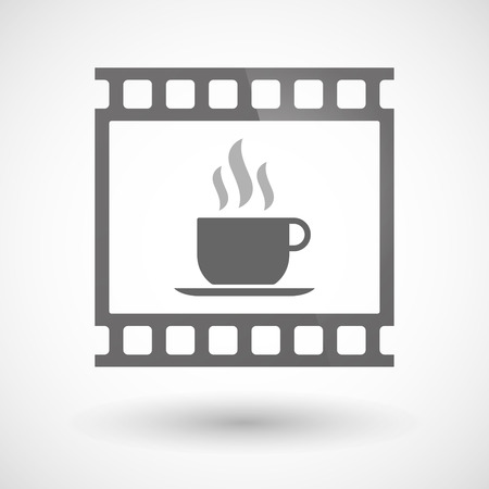 photographic film: Illustration of a photographic film icon with a cup of coffee