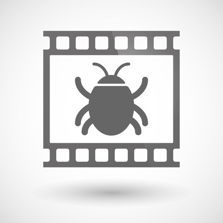 computer worm: Illustration of a photographic film icon with a bug