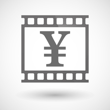 yen sign: Illustration of a photographic film icon with a yen sign