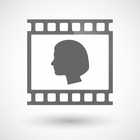 cabeza femenina: Illustration of a photographic film icon with a female head Vectores