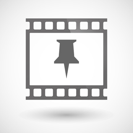 Illustration of a photographic film icon with a push pin Illustration