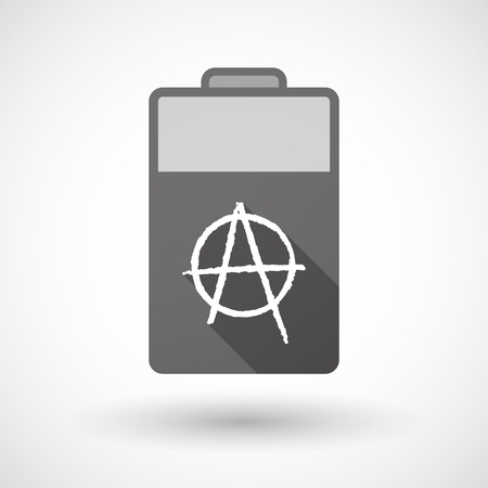 anarchist: Illustration of an isolated battery icon with an anarchy sign