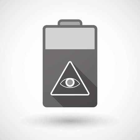 all seeing eye: Illustration of an isolated battery icon with an all seeing eye