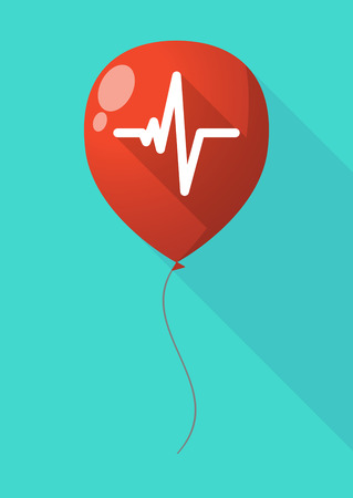 beat: Illustration of a long shadow balloon with a heart beat sign Illustration