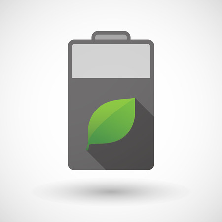 plant cell: Illustration of an isolated battery icon with a leaf Illustration