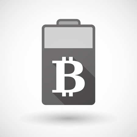 lithium: Illustration of an isolated battery icon with a bit coin sign