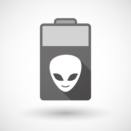 alien face: Illustration of an isolated battery icon with an alien face
