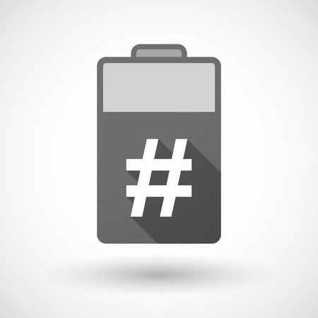 hash: Illustration of an isolated battery icon with a hash tag
