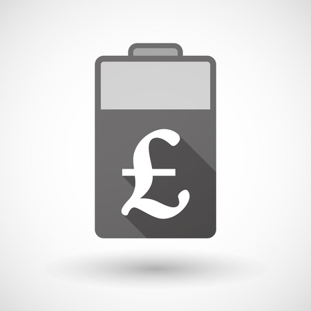 pound sign: Illustration of an isolated battery icon with a pound sign