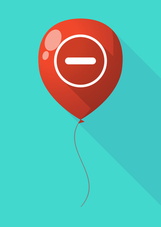 subtraction: Illustration of a long shadow balloon with a subtraction sign