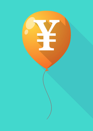 yen sign: Illustration of a long shadow balloon with a yen sign