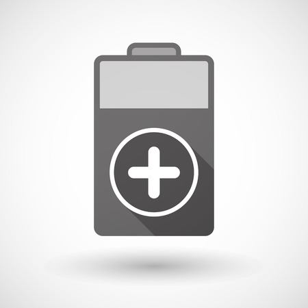 subtract: Illustration of an isolated battery icon with a sum sign Illustration