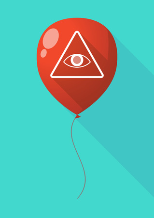 all seeing eye: Illustration of a long shadow balloon with an all seeing eye