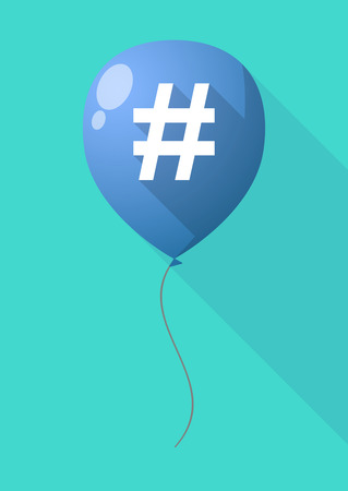 Illustration of a long shadow balloon with a hash tag