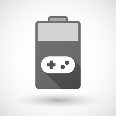 game pad: Illustration of an isolated battery icon with a game pad