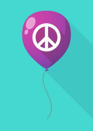peace sign: Illustration of a long shadow balloon with a peace sign