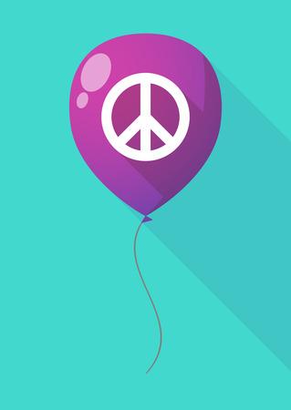 signo de paz: Ilustración de un globo larga sombra con un signo de la paz