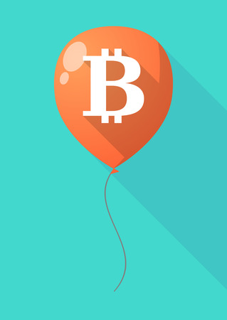 p2p: Illustration of a long shadow balloon with a bit coin sign