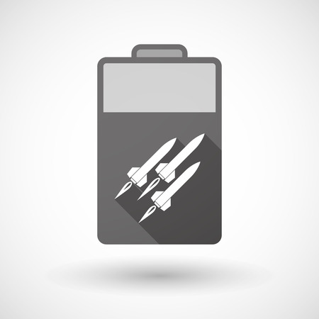 missiles: Illustration of an isolated battery icon with missiles