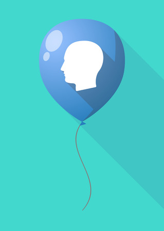 adult birthday party: Illustration of a long shadow balloon with a male head