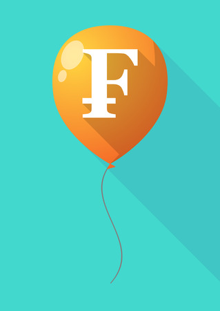 franc: Illustration of a long shadow balloon with a swiss franc sign Illustration