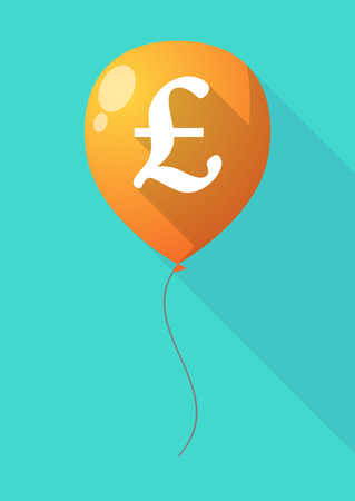 pound sign: Illustration of a long shadow balloon with a pound sign Illustration