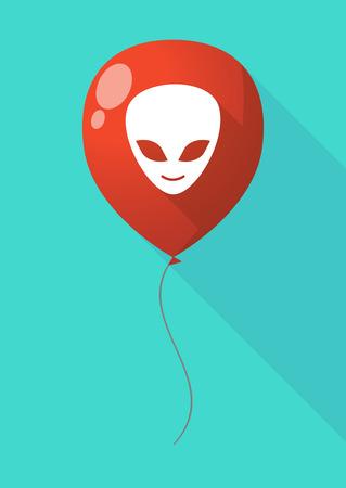 alien face: Illustration of a long shadow balloon with an alien face