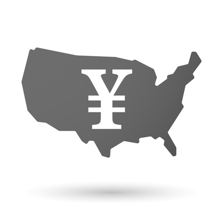 yen sign: Illustration of an isolated USA map icon with a yen sign