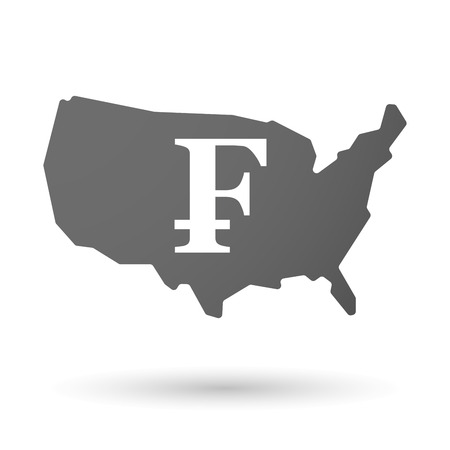 franc: Illustration of an isolated USA map icon with a swiss franc sign