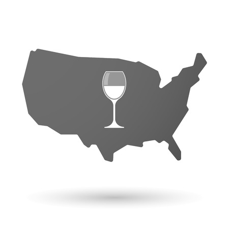 map wine: Illustration of an isolated USA map icon with a cup of wine
