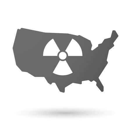 radioactivity: Illustration of an isolated USA map icon with a radio activity sign