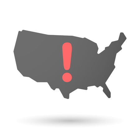 admiration: Illustration of an isolated USA map icon with an admiration sign Illustration