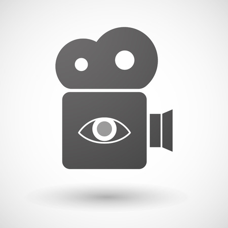 Illustration of an isolated cinema camera icon with an eye