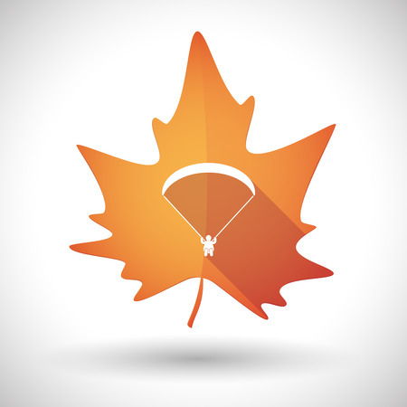 dry flies: Illustration of an isolated autumn leaf icon with a paraglider