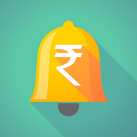 rupee: Illustration of a long shadow bell with a rupee sign